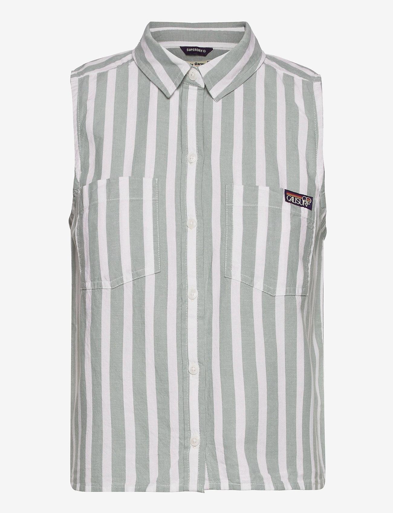 Superdry - SLEEVELESS SHIRT - sleeveless blouses - mint stripe - 0