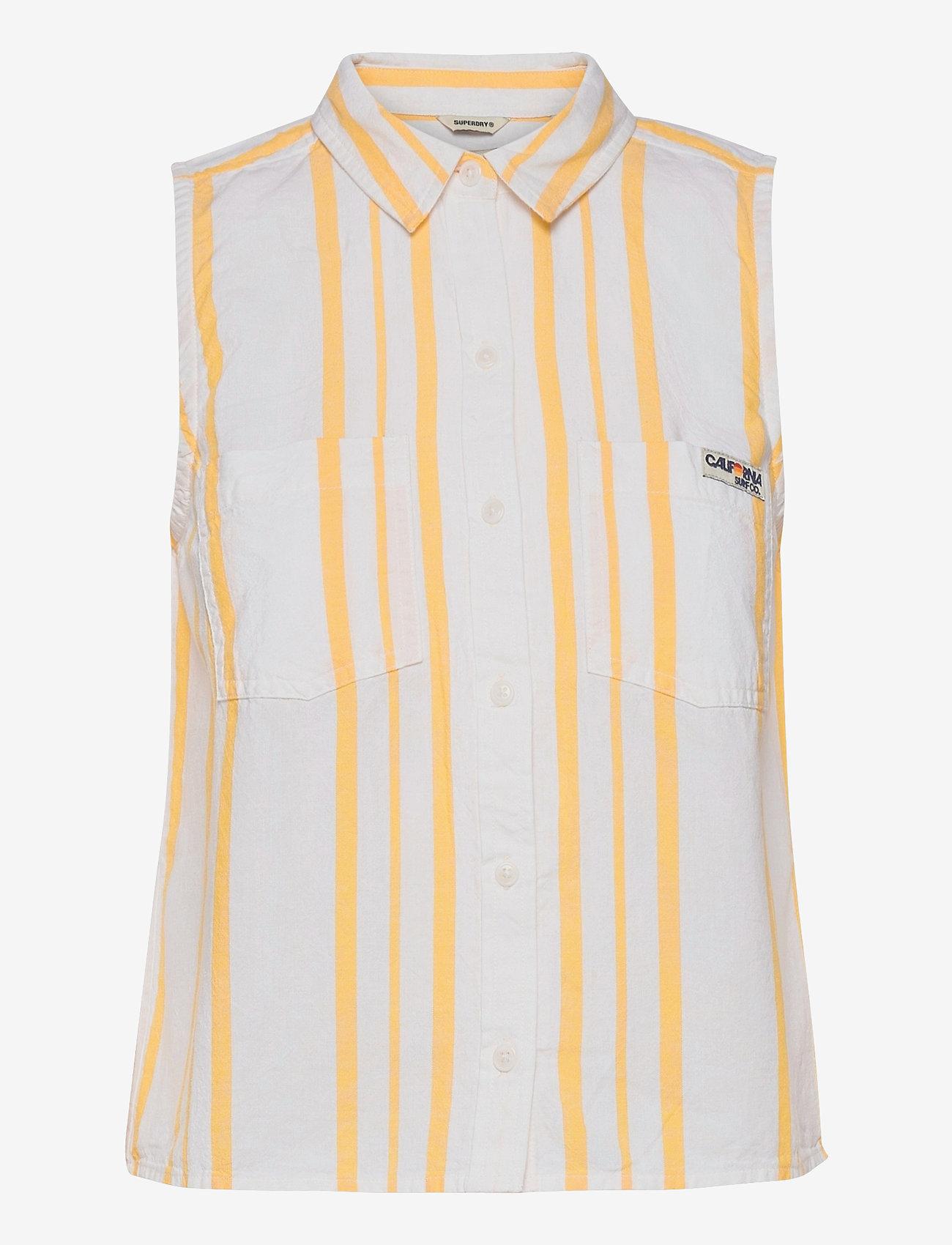 Superdry - SLEEVELESS SHIRT - Ärmellose blusen - yellow stripe - 0