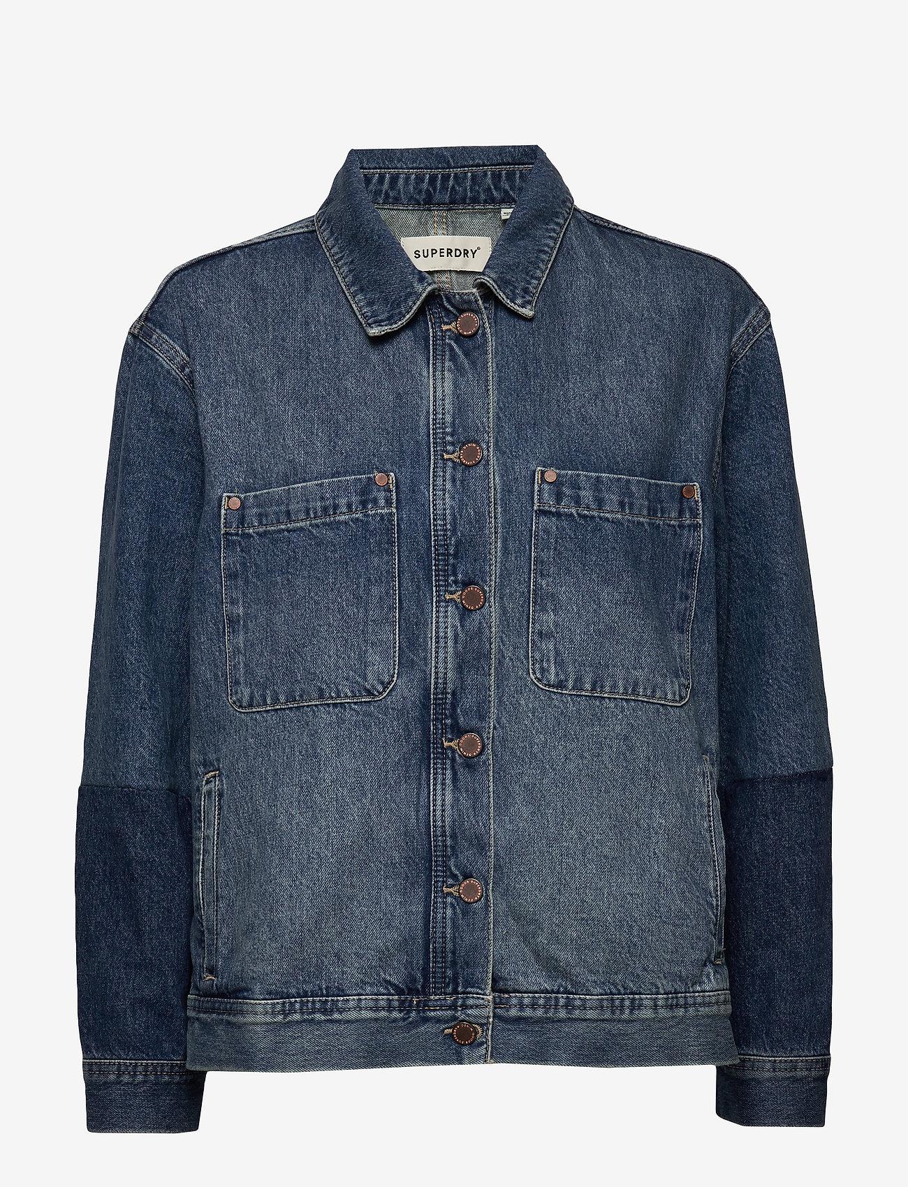 Superdry - WORKER JACKET - denim jackets - denim indigo dark mid - 0