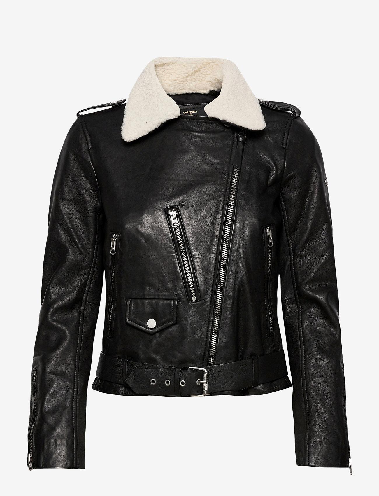 Superdry - Aviator Leather Biker - skinnjackor - black - 1