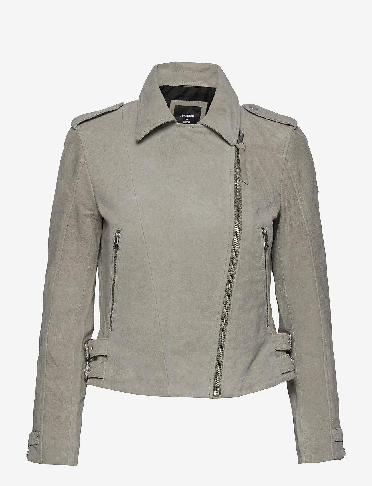 Superdry - CLASSIC SUEDE BIKER - leather jackets - stone - 0