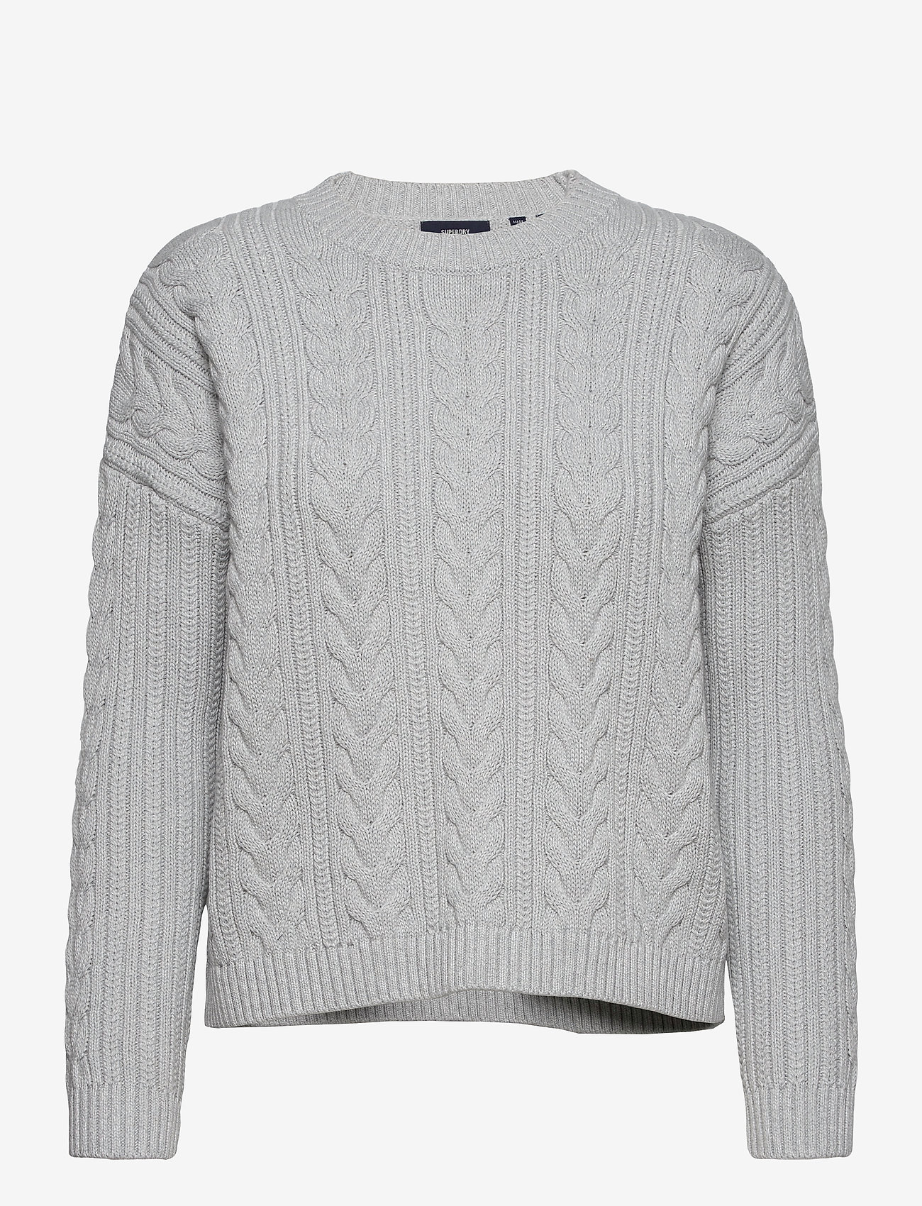 Superdry - DROPPED SHOULDER CABLE CREW - jumpers - light dove grey - 0