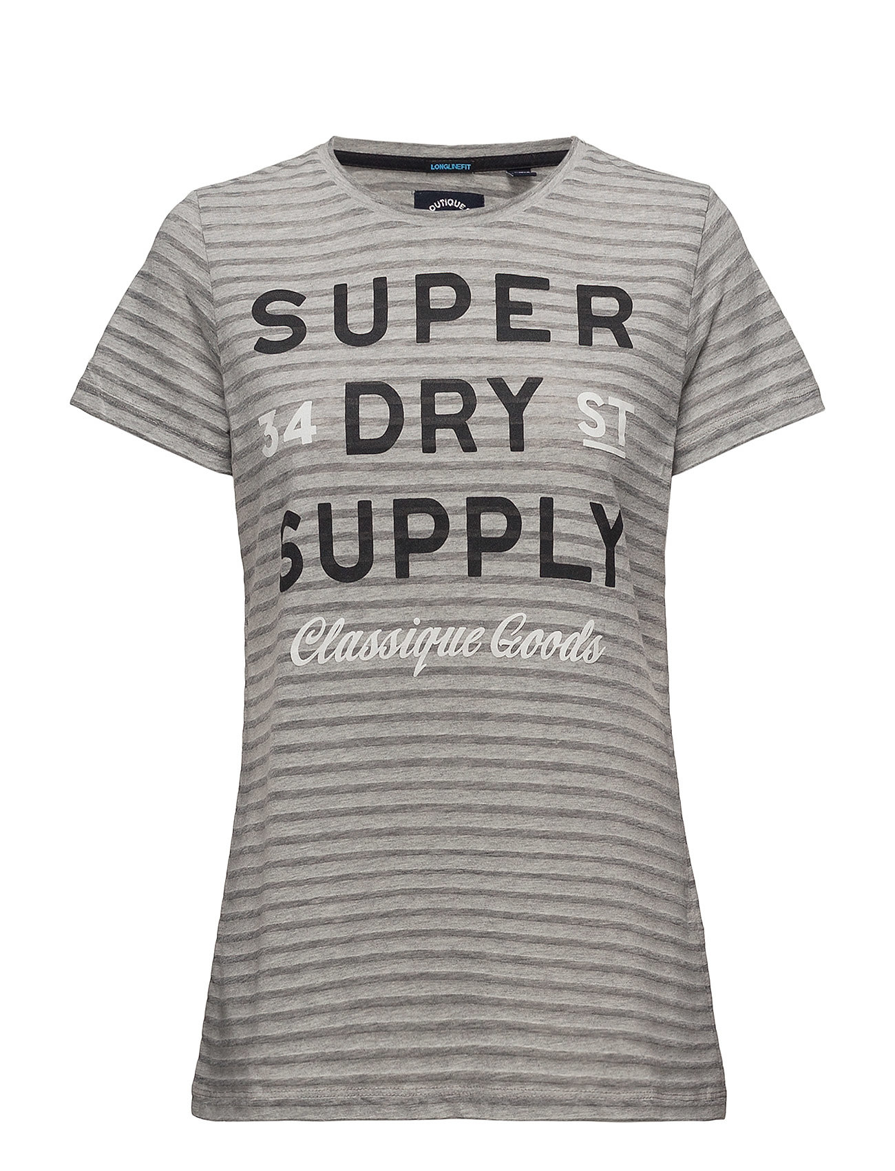 Superdry CLASSIQUE GOODS LONG LINE TEE - OUTRE GREY MARL