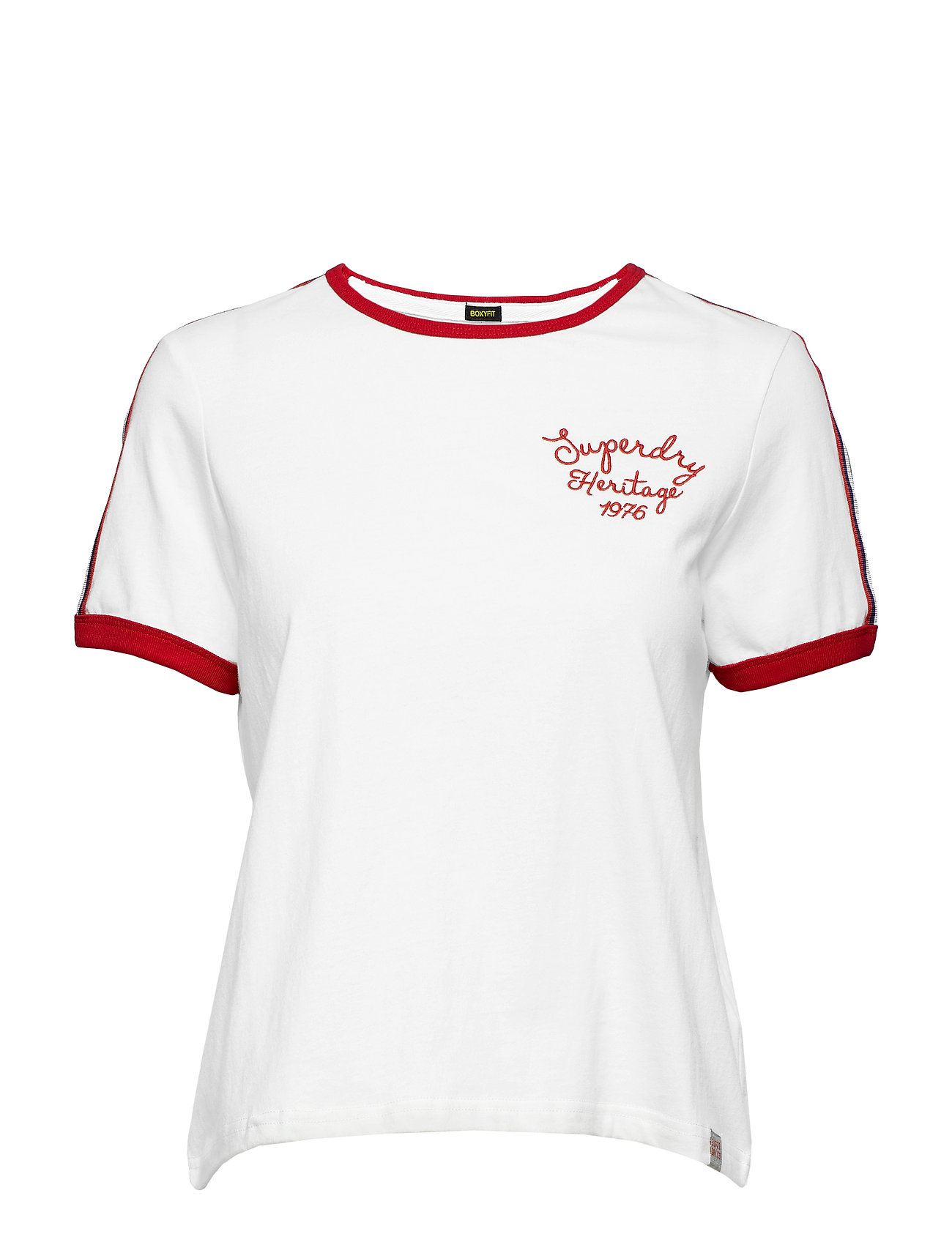 Superdry HERITAGE EMBROIDERY RINGER BOXY TEE - WINTER WHITE