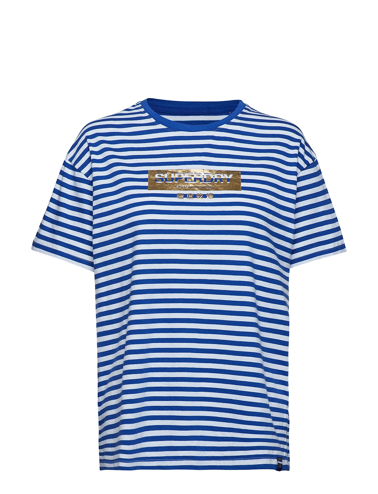 Superdry MINIMAL LOGO STRIPE PORTLAND TEE - MONICO BLUE/OPTIC STRIPE