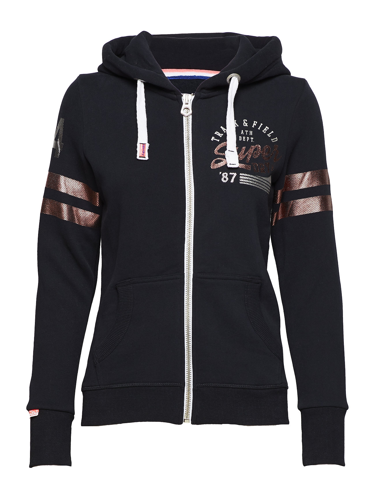 Superdry TRACK & FIELD ZIPHOOD - ECLIPSE NAVY