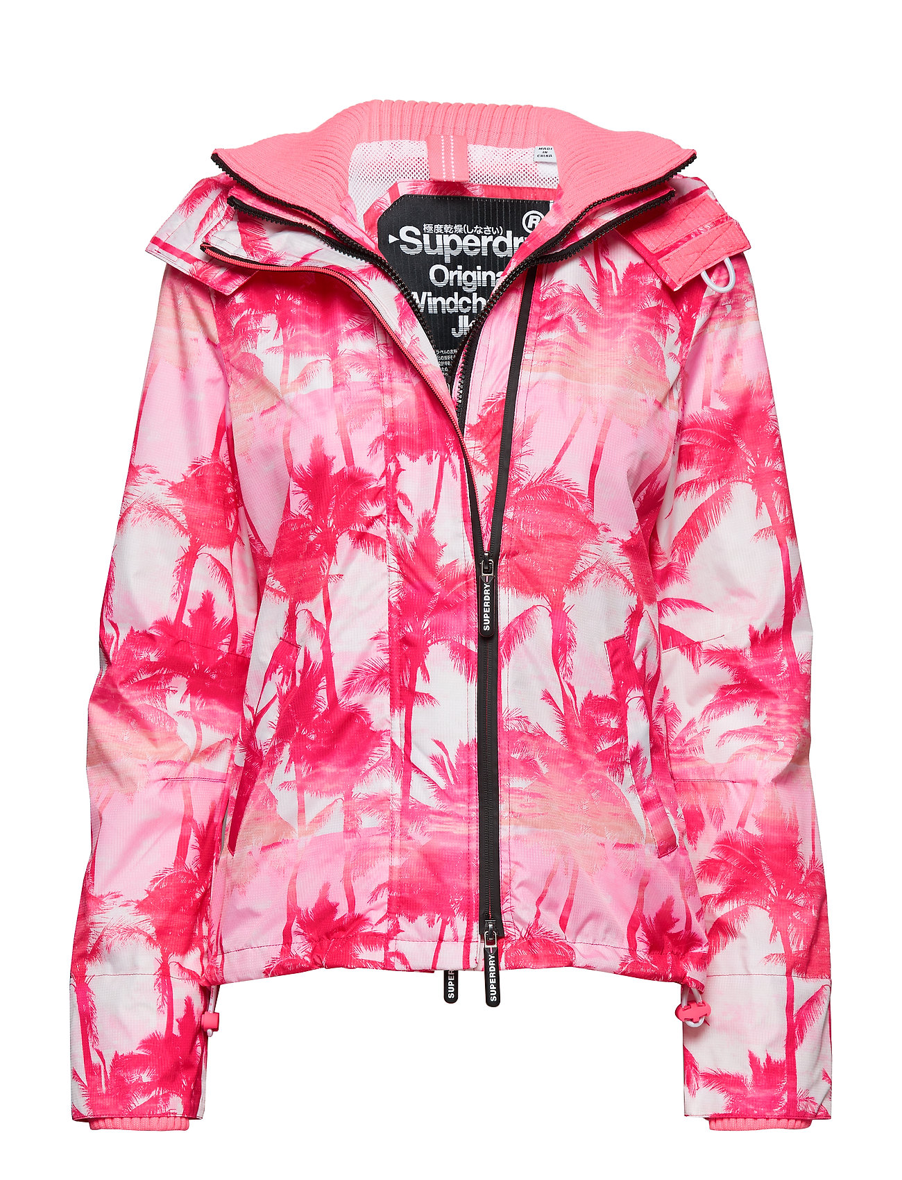 Superdry BLACK EDITION WINDCHEATER - PINK PASTEL PALM/SILVER/NEON PINK