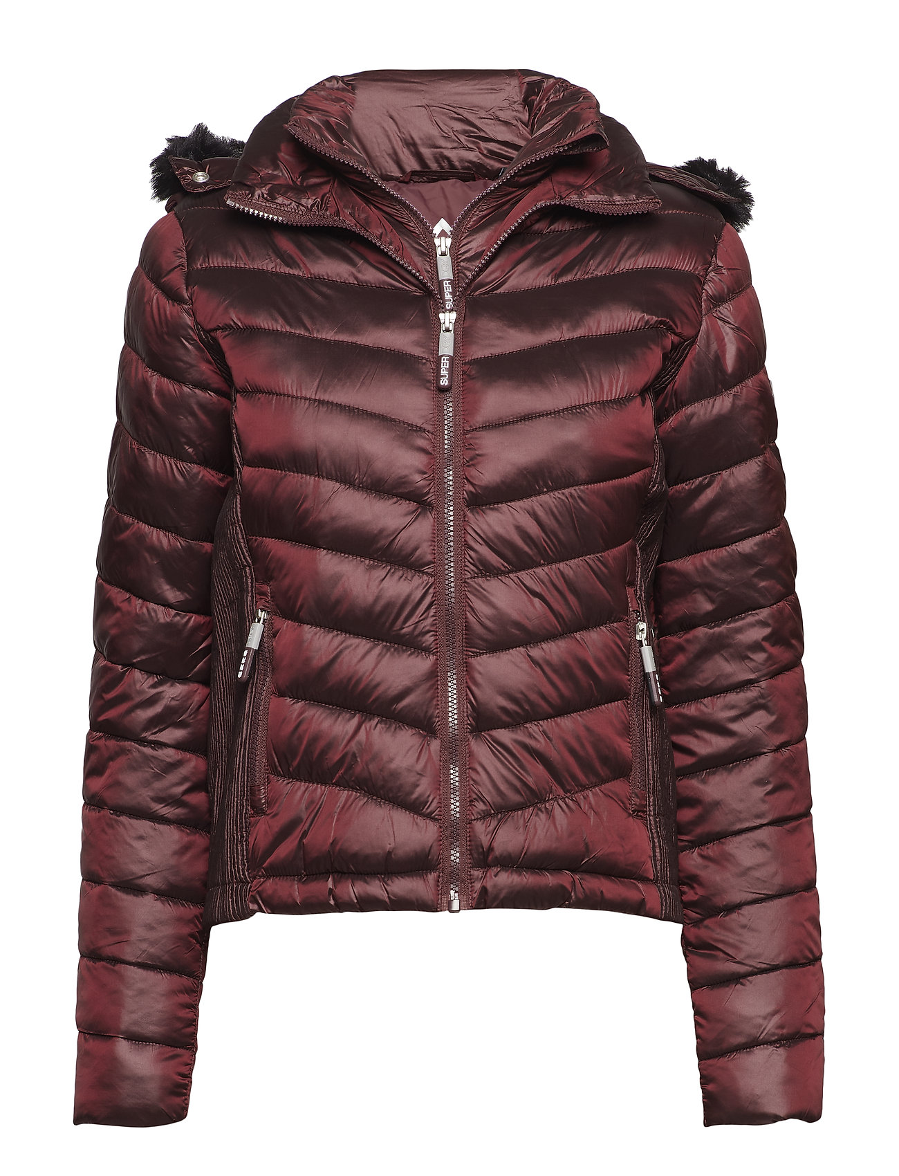 Superdry HOODED LUXE CHEVRON FUJI - DEEP RUBY