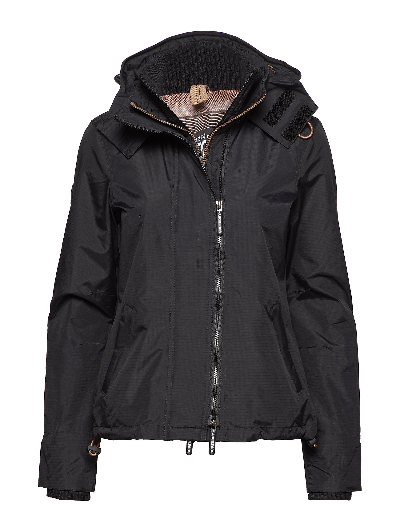 Superdry TECH HOODED POP ZIP WNDCHEATER - BLACK/LUREX GEMSTONE