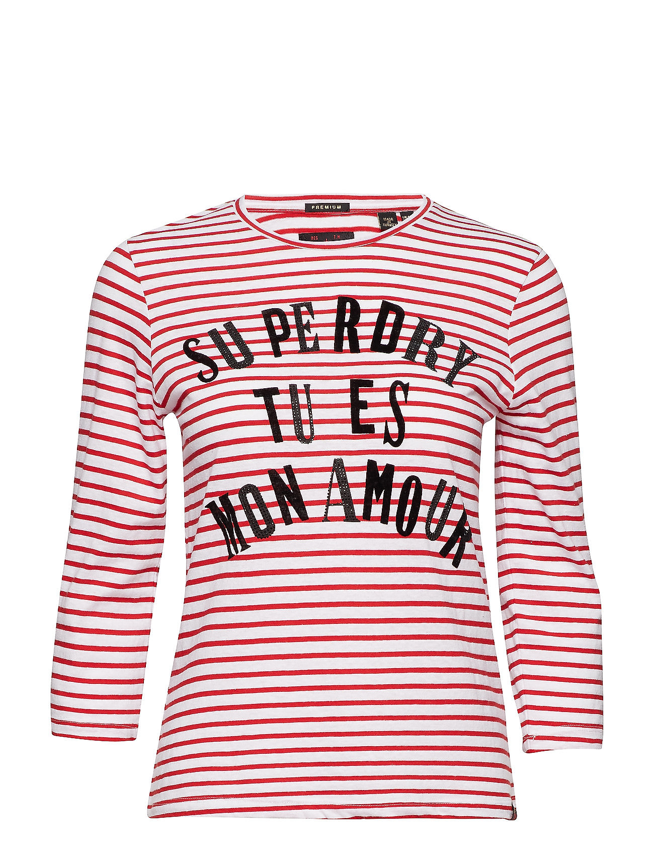 Superdry JESSA GRAPHIC TOP - ROYALTY RED STRIPE