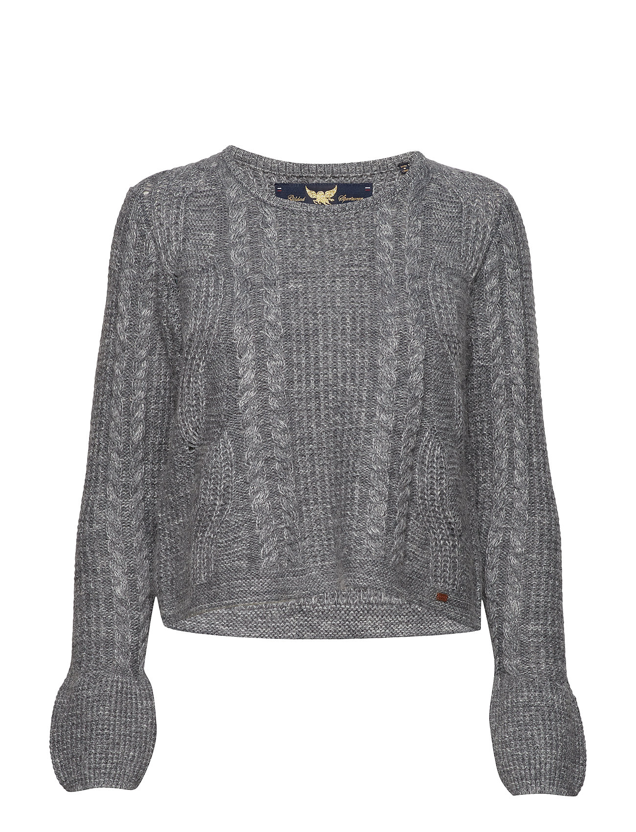 Superdry BELL SLEEVE MOHAIR CABLE KNIT - MID GREY MARL