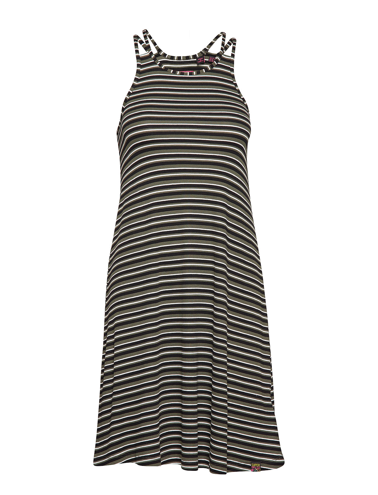 Superdry WILLIS STRIPE SWING DRESS - KHAKI CRU BLACK STRIPE