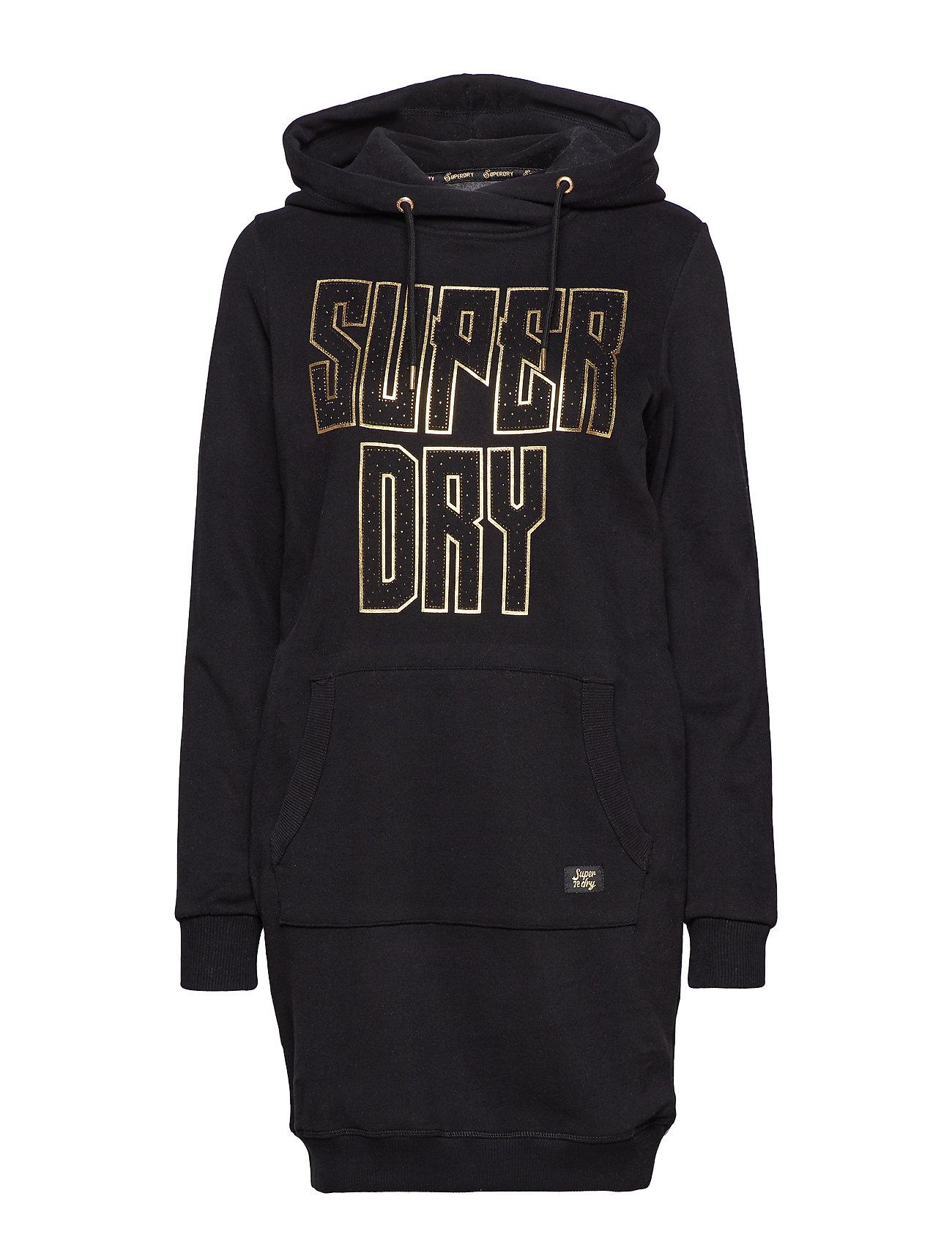 Superdry DEAKIN EMBELLISHED SWEAT DRESS - BLACK