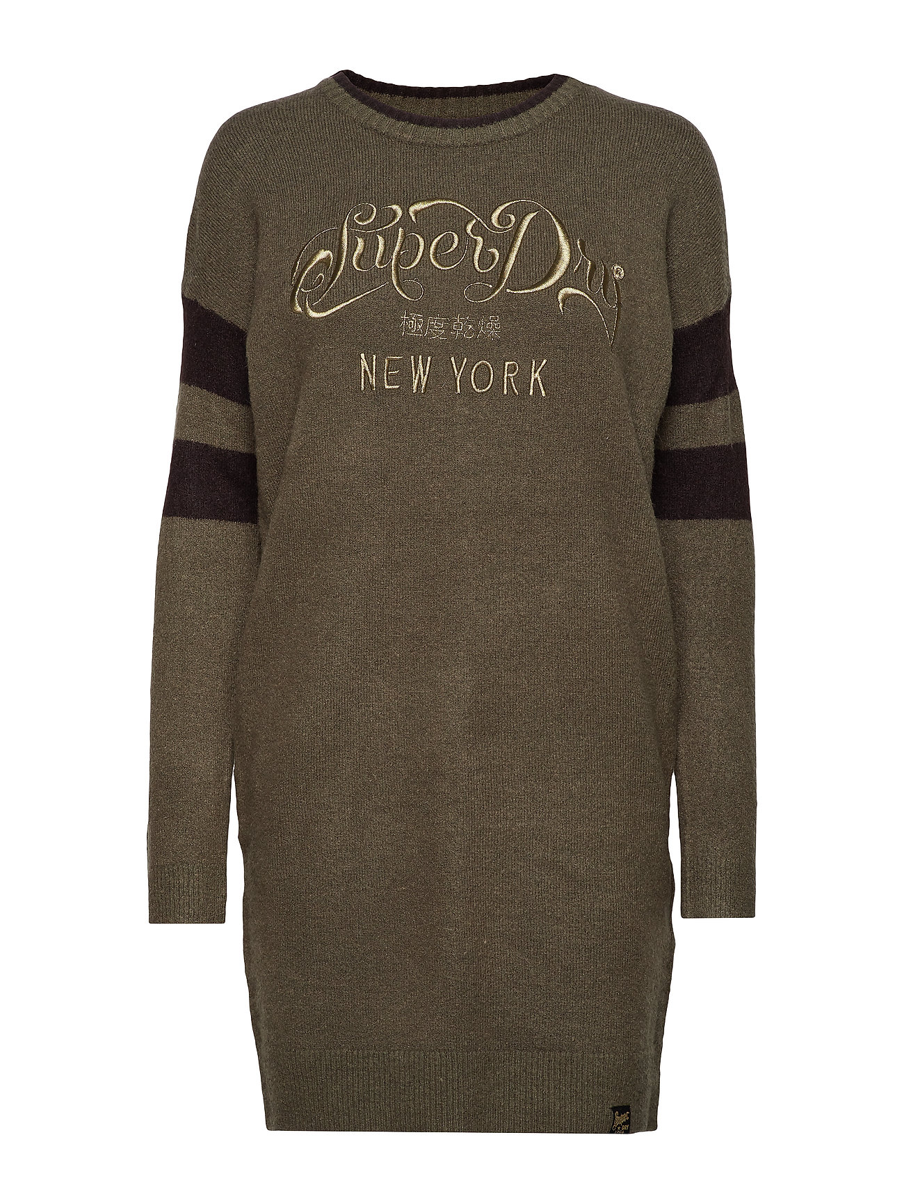 Superdry SCANDI KNIT SWEATER DRESS - KHAKI