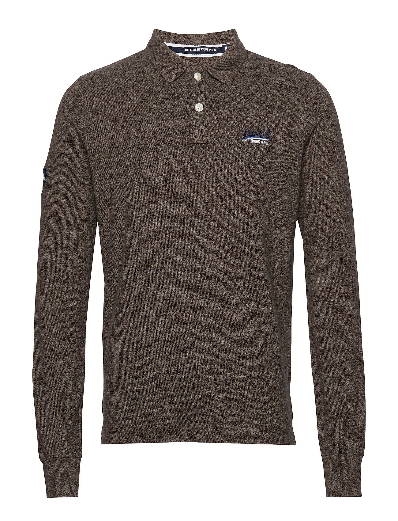 Superdry CLASSIC L/S PIQUE POLO - PEBBLE EARTH GRIT