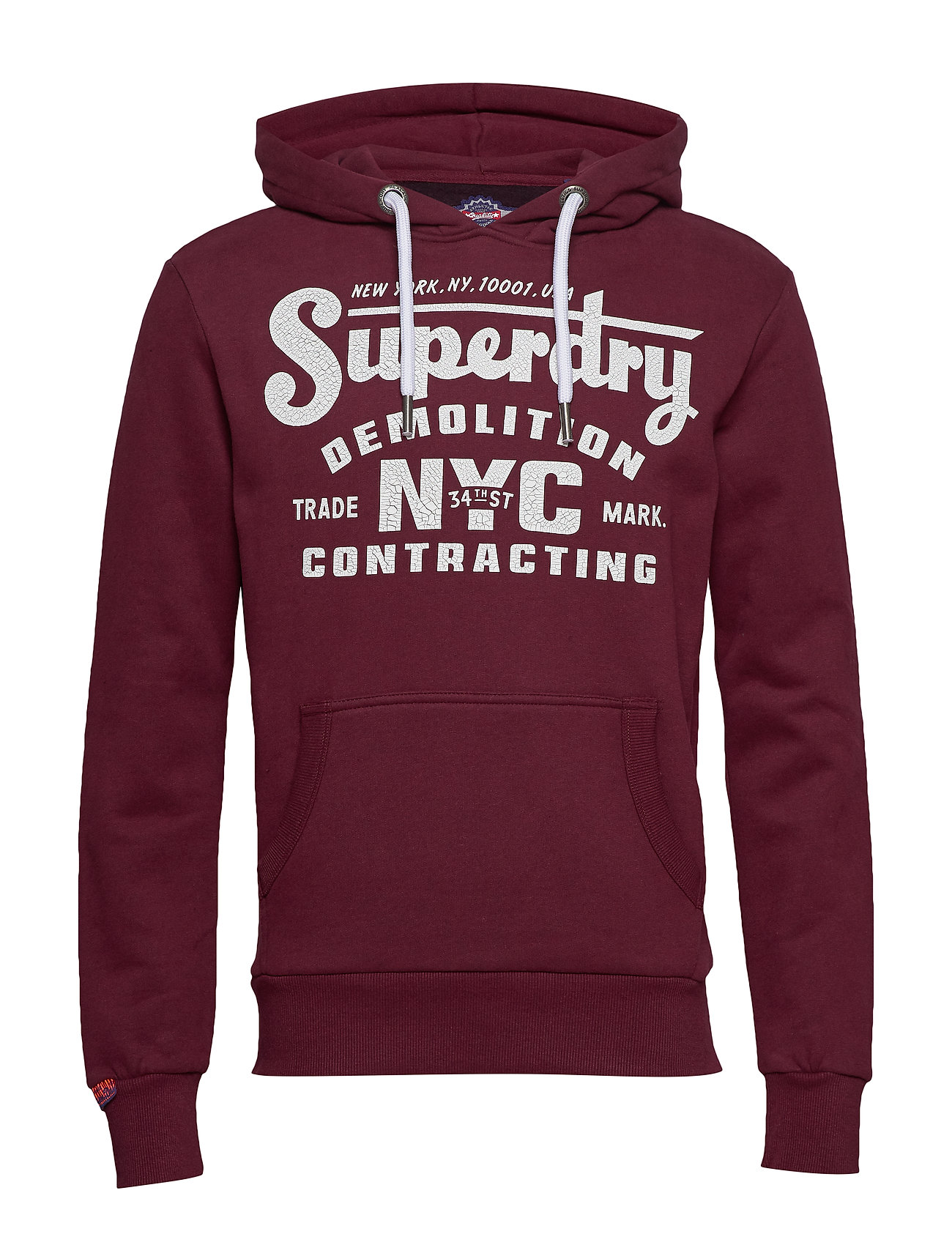 Superdry DEMOLITION CREW HOOD - BUCK BURGUNDY MARL