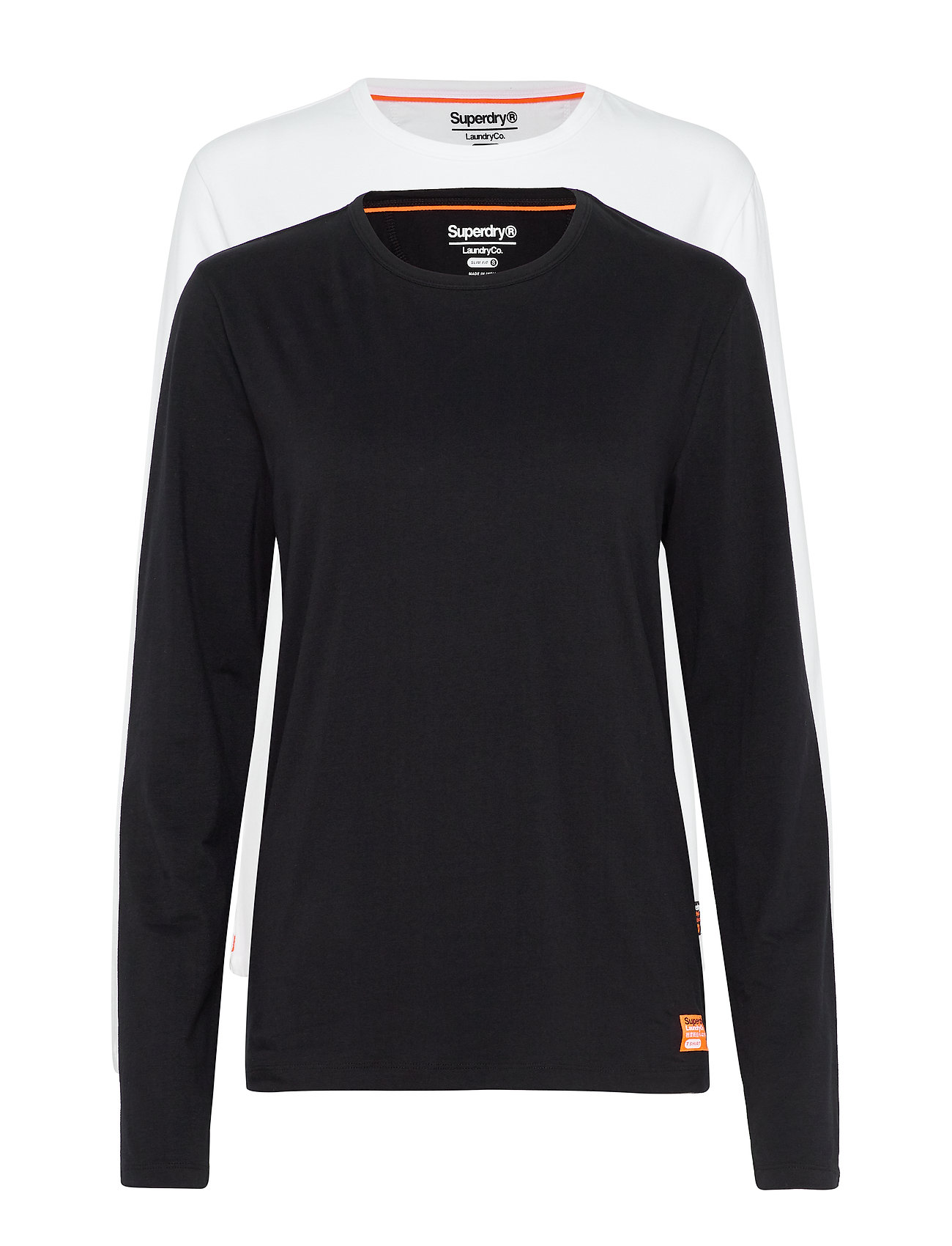 Superdry LAUNDRY SLIM FIT LS TEE DOUBLE PACK - LAUNDRY BLACK/LAUNDRY WHITE