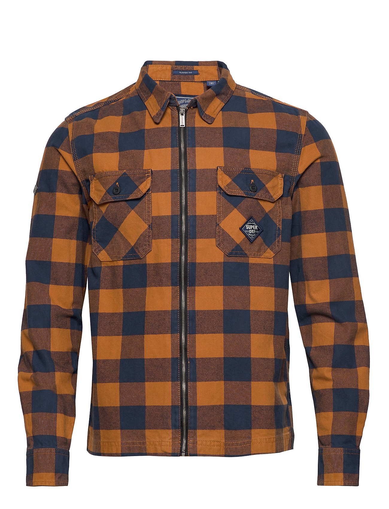 Superdry WORKWEAR L/S ZIP THROUGH - YELLOW CHECK