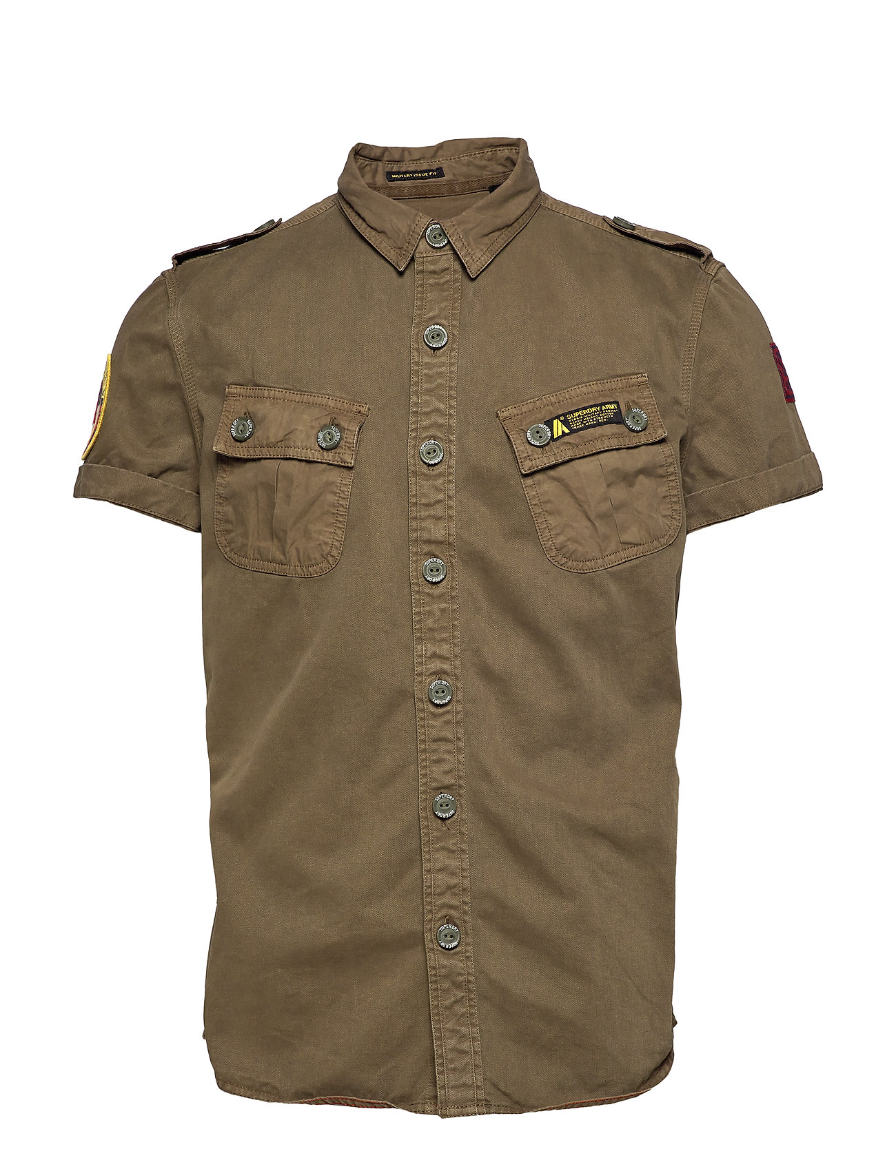 Superdry HYBRID ARMY CORPS LIGHT S/S SHIRT - TRENCH ARMY