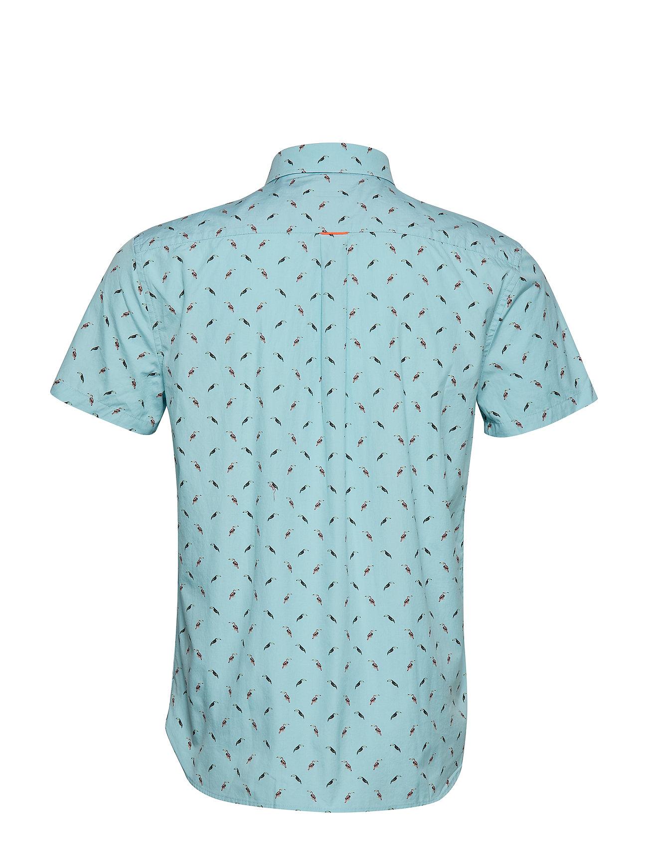 Superdry PREMIUM SHOREDITCH S/S SHIRT - Skjorter TURQUOISE TOUCANS - Menn Klær