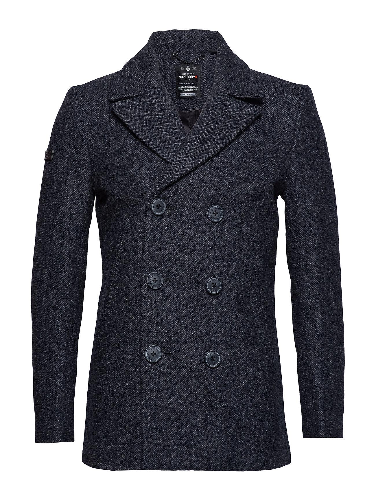 SUPERDRY Rookie Merchant Line Peacoat Wollmantel Mantel Grau SUPERDRY