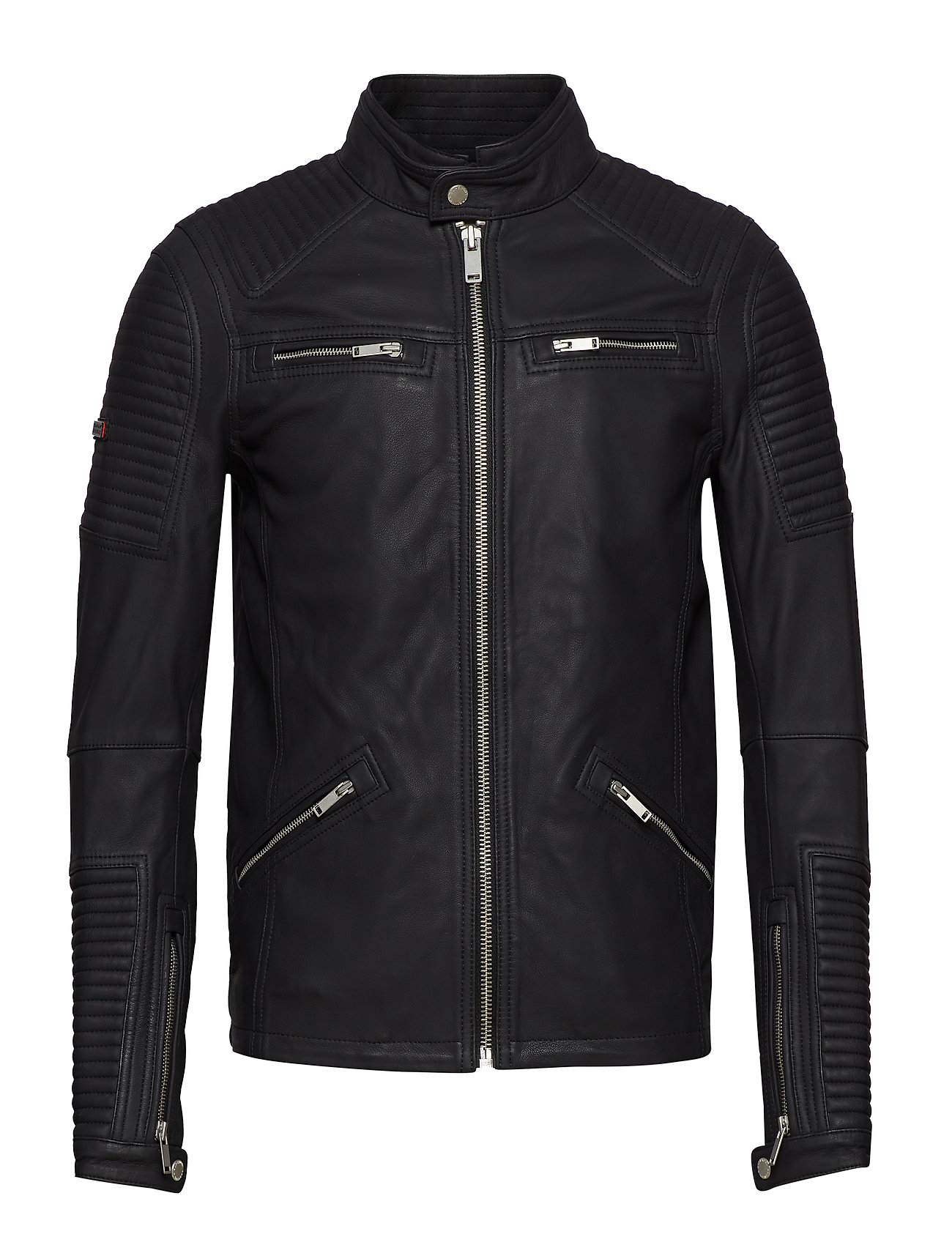 Superdry PREMIUM LEATHER RACER JACKET - BLACK
