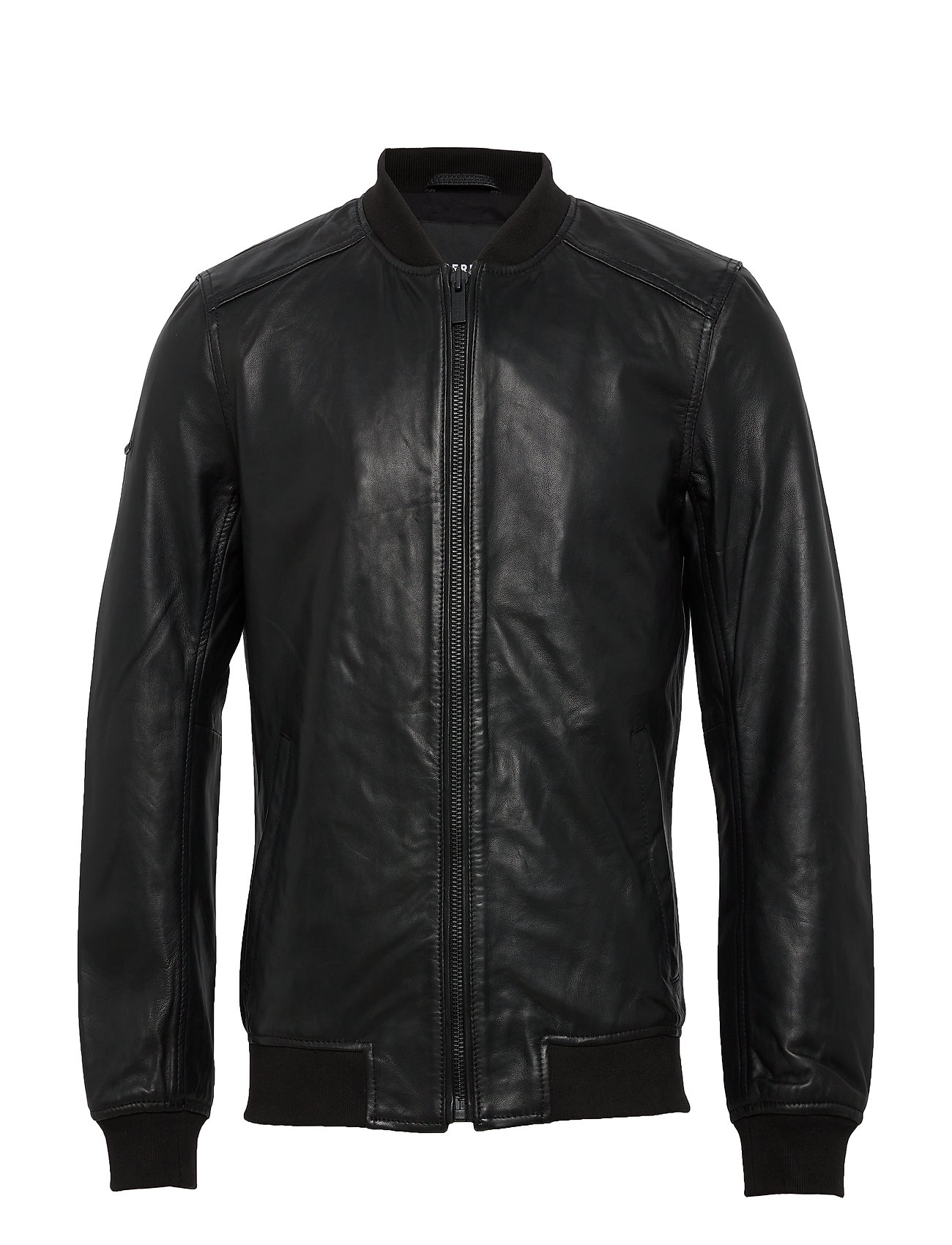 Image of Light Leather Bomber Læderjakke Skindjakke Sort Superdry (3367557133)