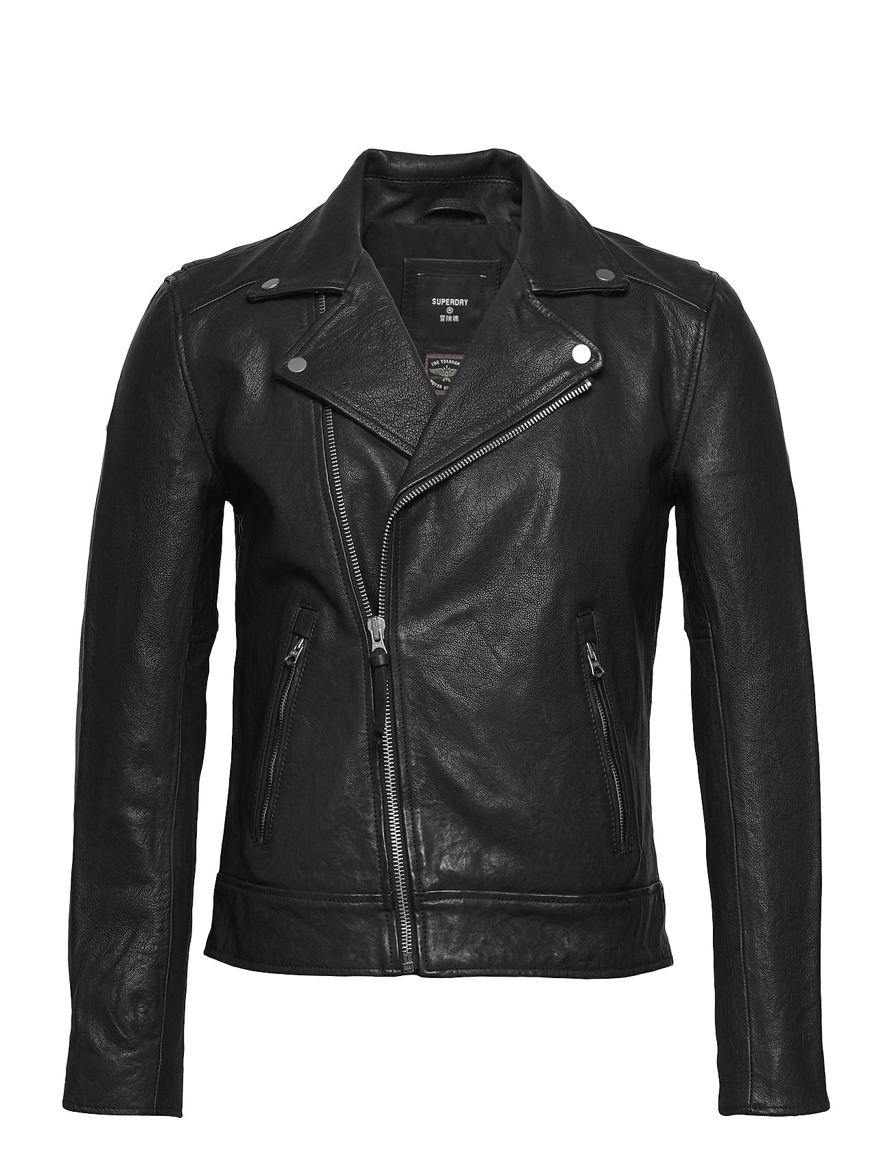 Image of Leather Moto Biker Læderjakke Skindjakke Sort Superdry (3504750361)