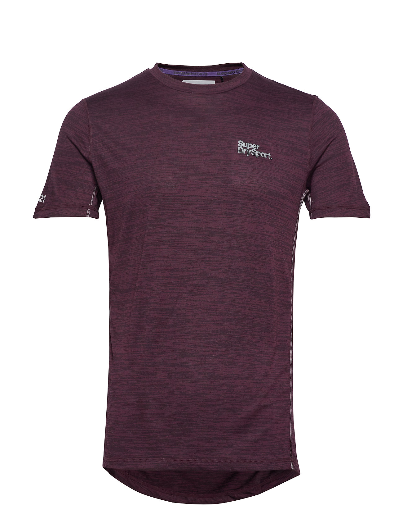 Superdry ACTIVE TRAINING S/S TEE - FIG MARL SPACE DYE