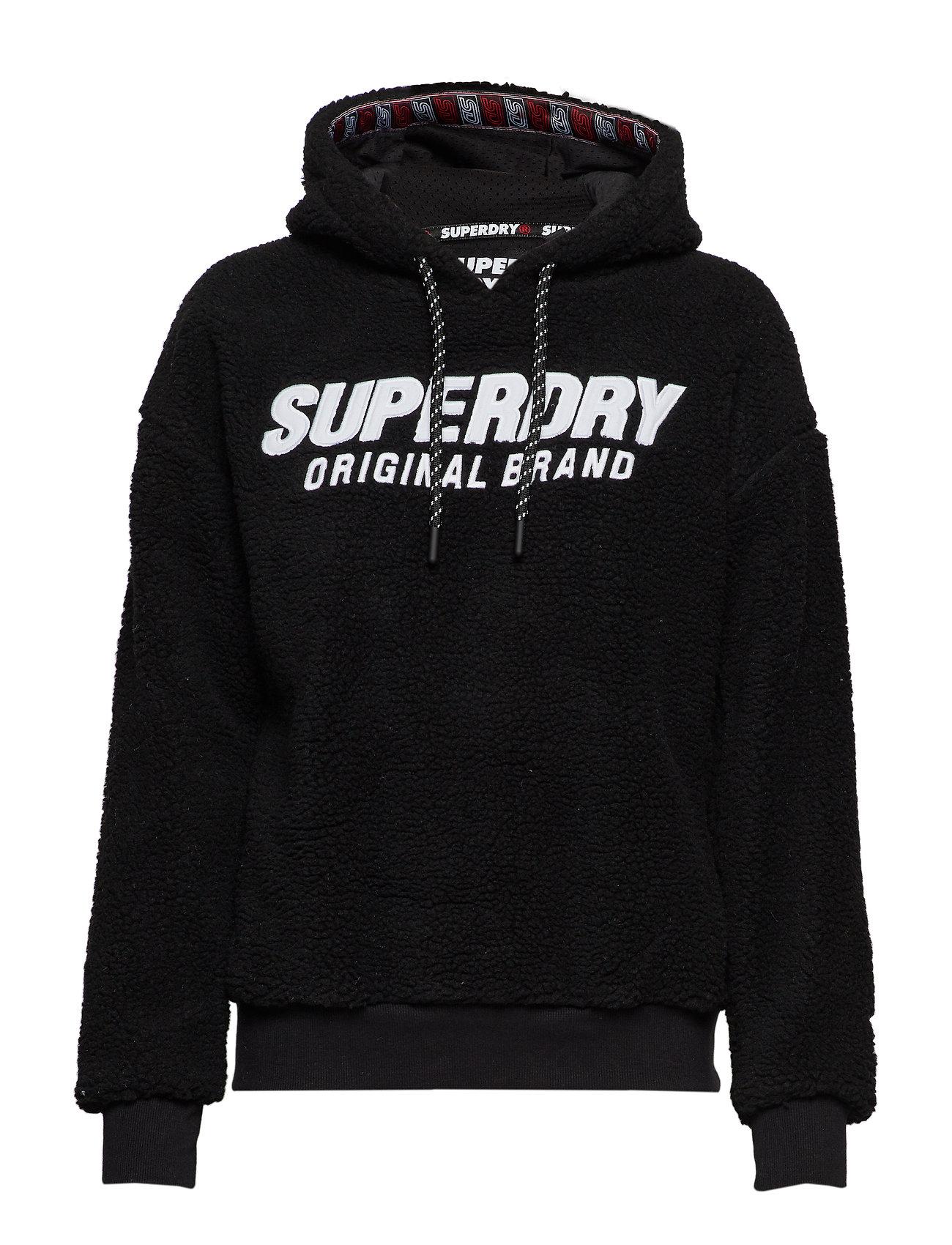 SUPERDRY Kayla Sherpa Hood Hoodie Pullover Schwarz SUPERDRY