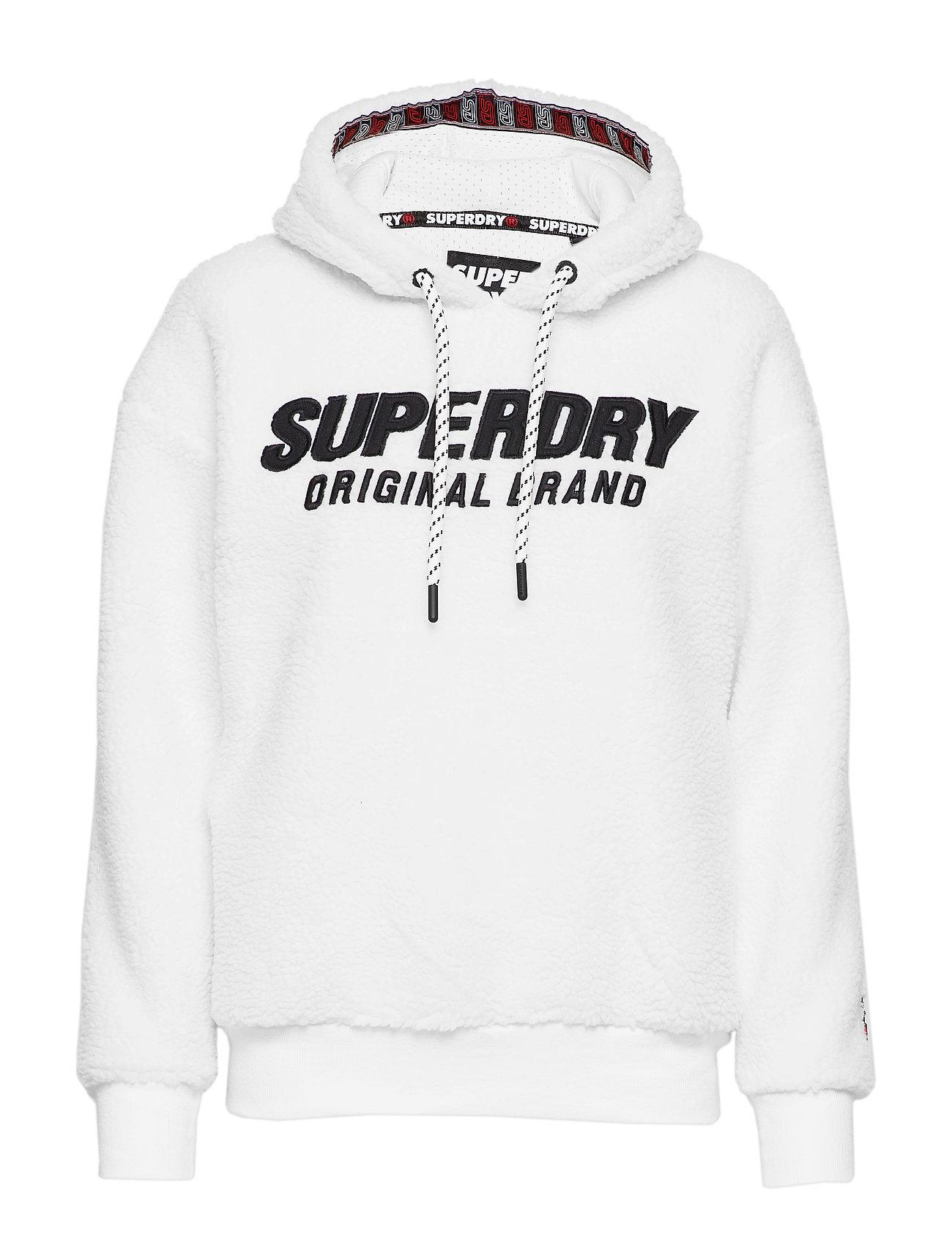 SUPERDRY Kayla Sherpa Hood Hoodie Pullover Weiß SUPERDRY