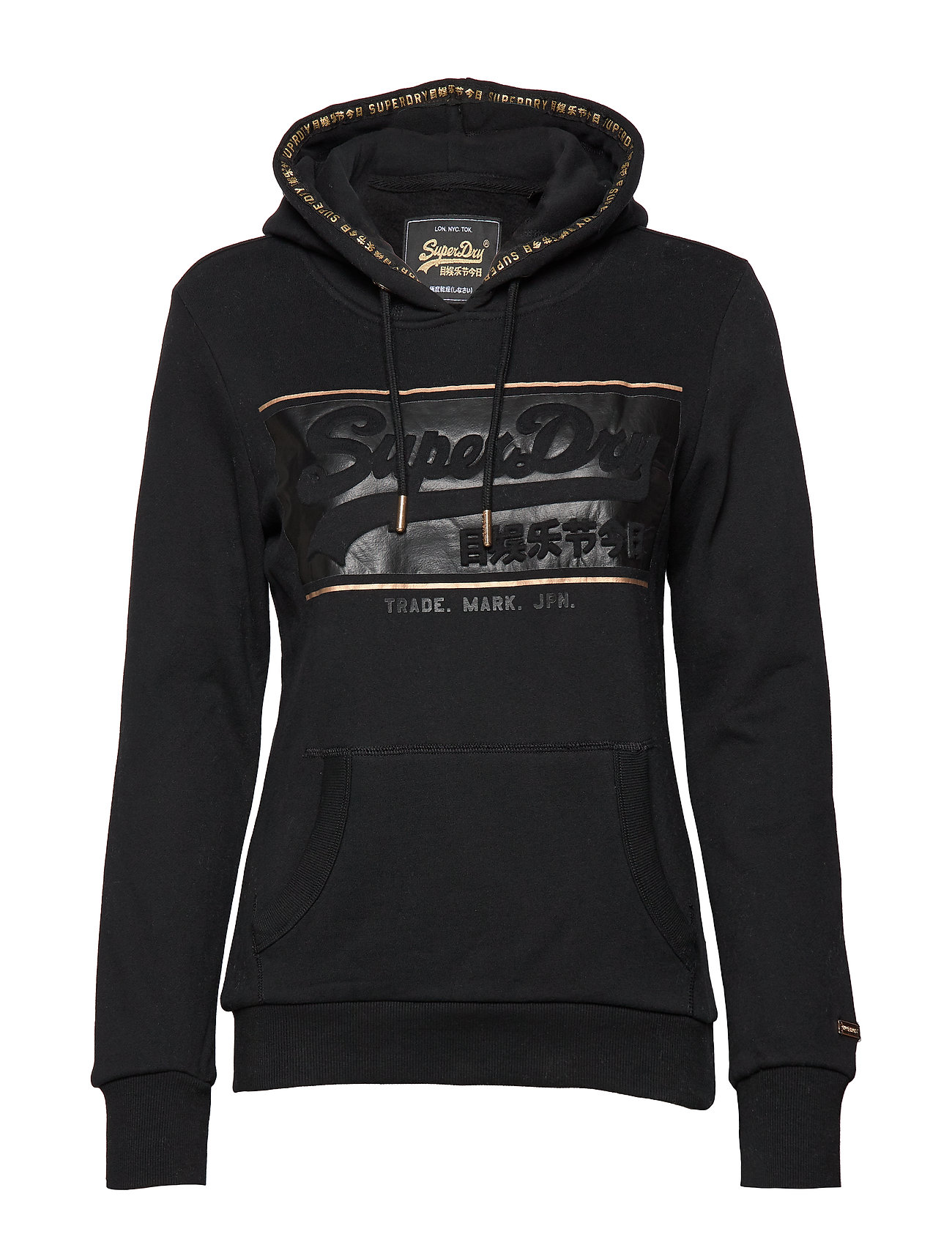 Superdry V LOGO BLOCK EMBOSS ENTRY HOOD - BLACK