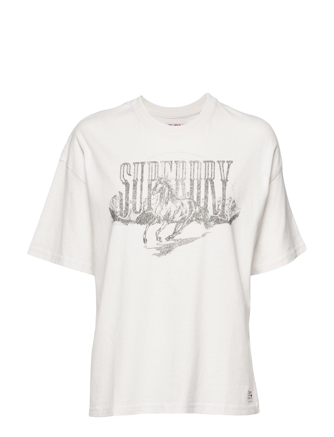Superdry BOYFRIEND BAND GRAPHIC TEE - SOFT WHITE