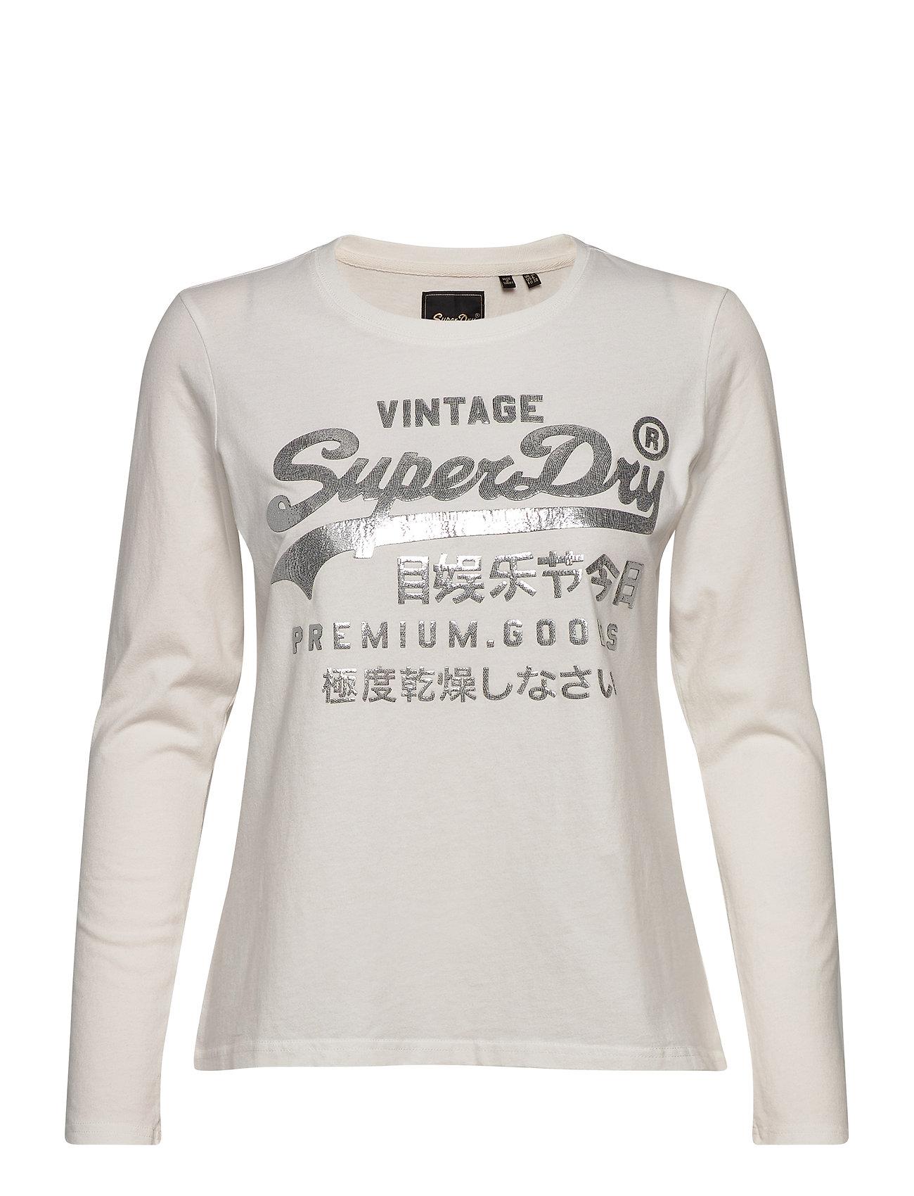 Image of Premium Goods Metallic Ls Top Langærmet T-shirt Creme Superdry (3428005811)