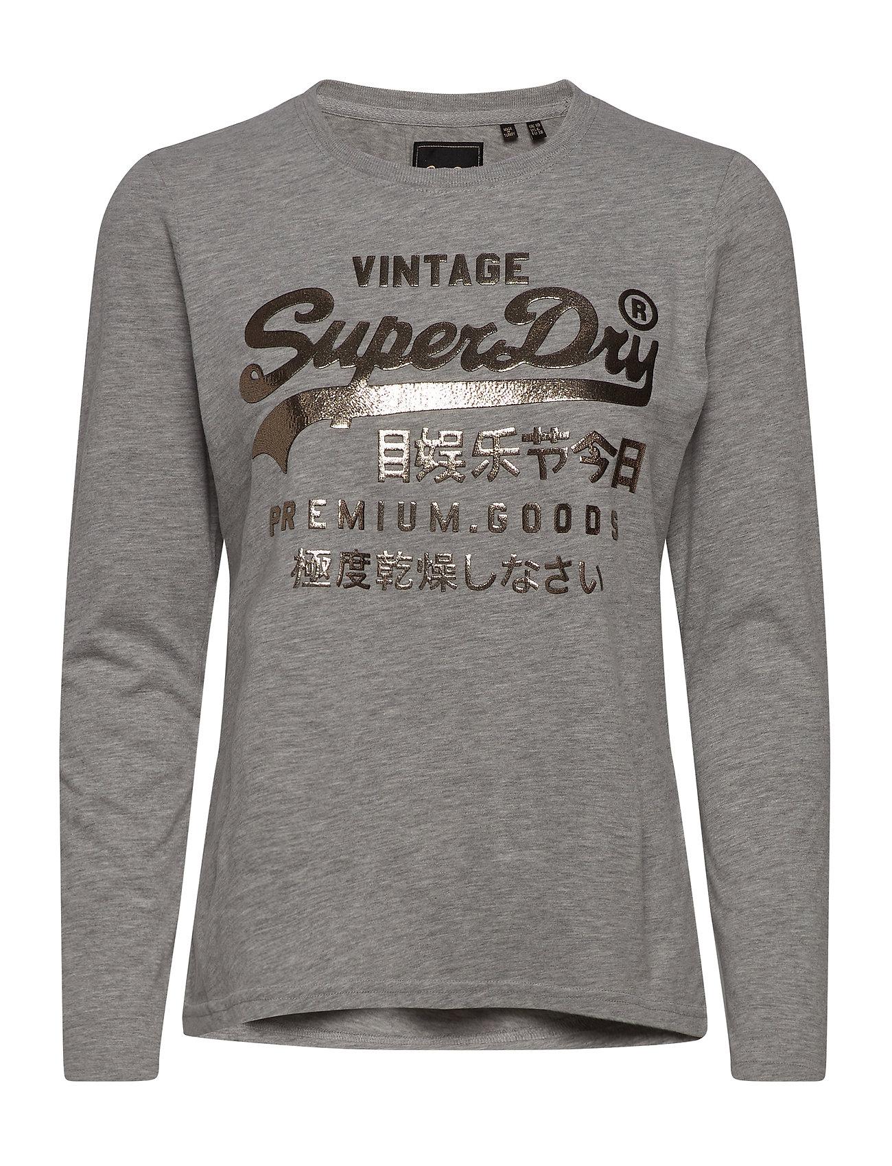Image of Premium Goods Metallic Ls Top Langærmet T-shirt Grå Superdry (3428005809)