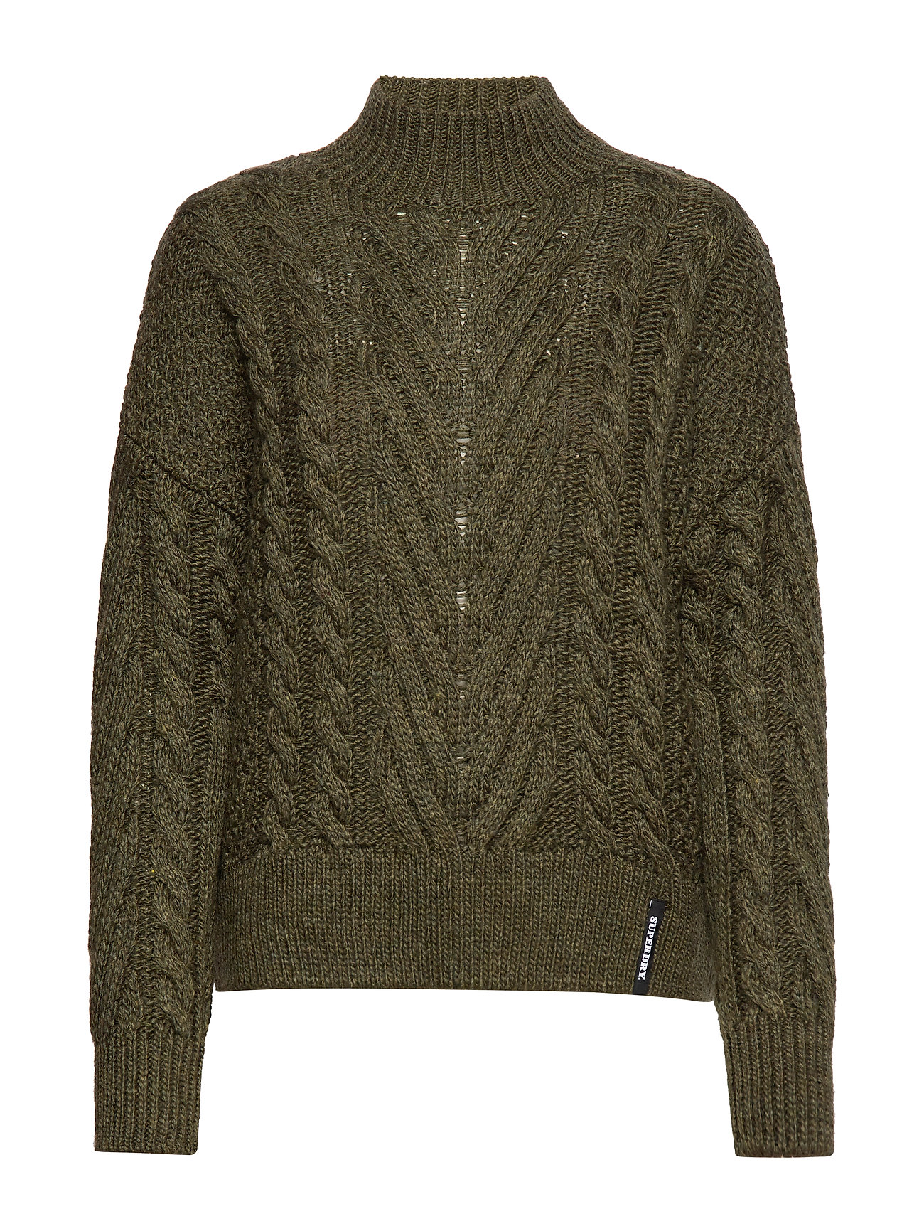 Superdry DALLAS CHUNKY CABLE KNIT - ARMY KHAKI