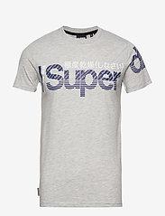 Superdry - CORE SPLIT LOGO TEE - kortermede t-skjorter - collective light marl - 0