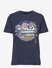 Superdry - VL ITAGO TEE - t-shirts - lauren navy - 0