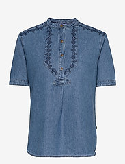 Superdry - GRANDAD BLOUSE - short-sleeved blouses - chambray - 0