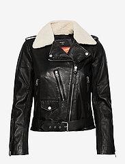 Superdry - Aviator Leather Biker - skinnjackor - black - 0