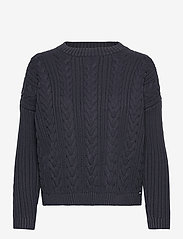 Superdry - DROPPED SHOULDER CABLE CREW - jumpers - eclipse navy - 0