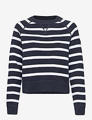 Superdry - ESSENTIAL COTTON CREW - sweaters - eclipse navy stripe - 0