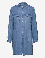 Superdry - TENCEL OVERSIZED SHIRT DRESS - everyday dresses - mid wash - 0