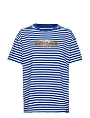 MINIMAL LOGO STRIPE PORTLAND TEE - MONICO BLUE/OPTIC STRIPE