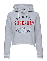 PLAYOFF CROP HOODIE - CENTRE BACK GREY MARL