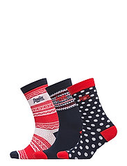 FESTIVE SOCK TRIPLE PACK - RED/NAVY/WHITE