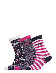 FLORAL SOCK TRIPLE PACK - WHITE/PINK/NAVY