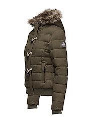 New Womens Superdry Marl Toggle Puffle Jacket Green Herringbone