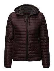 CORE DOWN HOODED JACKET - DEEP PLUM