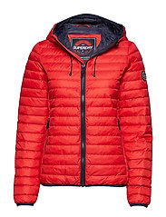 CORE DOWN HOODED JACKET - RED